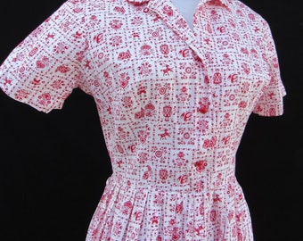 1950s Vintage 50s Cotton German Novelty Print Red and White Dress Medium