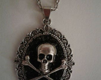 Skull Pendant Necklace Skull and Crossbones Gothic Jewelry Antique Silver and Black