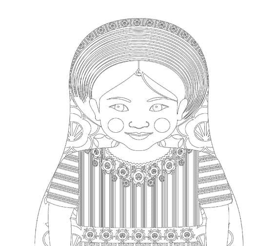 Guatemalan Doll Folk Dress Coloring Sheet Printable Matryoshka