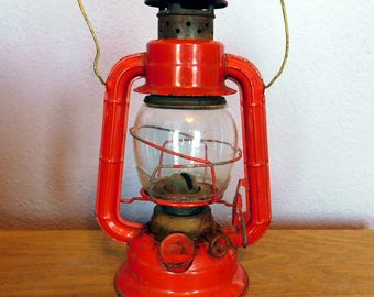 Vintage Dietz No 50 Red Kerosene Lantern - Railroad Lantern - Rustic Barn / Man Cave Decor - Clear Glass - Made in Hong Kong Mid-Century