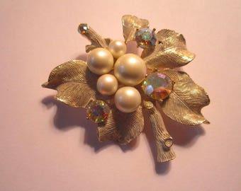 Vintage Large Glitzy AB Crystal Faux Pearls and Rhinestone Brooch