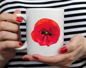 Floral Coffee Mug - Red Poppy Coffee Mug Handmade - Coffee Cup - Custom Mug - Ceramic Mug - August Birthday - Fallen Soldier - Gardener Gift