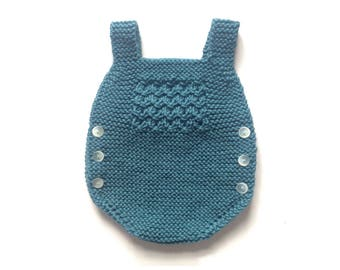 READY TO SEND, 6-9 months, Baby romper, knitted romper, merino wool, knitting, baby knits, handmade, dungaree, emerald color, chunkysus