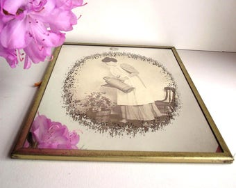 70s Mirror Brytone Mechanical Mirror Small Printed Mirror Woman Watering Flowers  Cottage Chic Kitsch