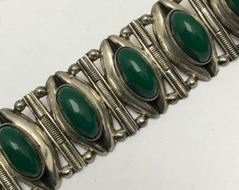 Vintage Mexican Mexico Silver Bracelet . Green Glass . Pre Eagle Mark .  Mexican Silver Jewelry