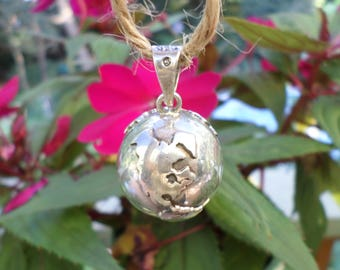 sterling silver EARTH pendant  musical chime World charm  marked SW Mexico 925