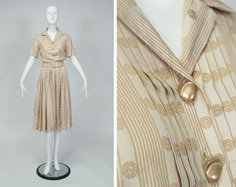 vintage 1950s bespoke taupe silk brocade shirtwaist dress, Chinese key print, breathtaking pleats, shell buttons, couture details, size XS