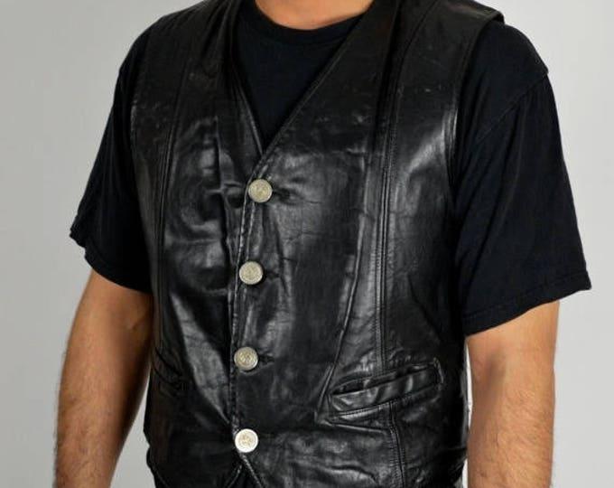 sale Vintage Harley Davidson Vest, Biker Vest, Black Vest, Leather Vest, Harley Vest, Owner's Group Vest, Motorcycle Vest,  Harley Clothing