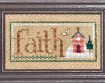 Lizzie Kate Double Flip F79 Faith Cheer - Christmas Spirit with Charm Counted Cross Stitch Chart Pattern with Charms