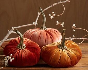 LARGE Scented Velvet Pumpkins, SET of 3: Copper, Rust, Harvest Orange