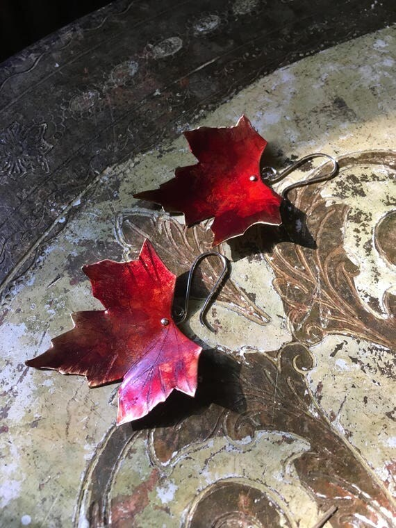 Md Hammered Japanese Maple Leaves in black brushed patina - copper