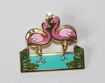 Pinup Retro Flamingo Tiki Love Lapel Pin Rockabilly Gold Mid-Century Atomic Pink