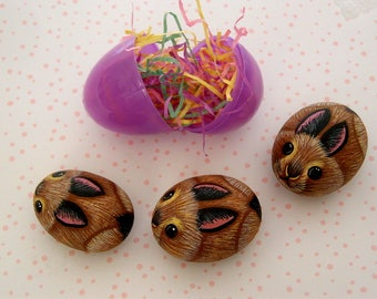Miniatures miniature animal Spring Easter chocolate brown bunny rabbit painted rocks fairy garden decor moss terrarium kit Easter egg basket