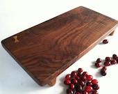Figured BLACK WALNUT Cutting Board SUSHI Serving board/Bar board Awesome Wood Grain. Hand Carved Butterfly