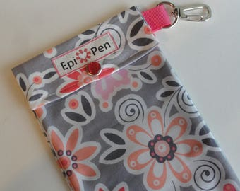 Blooms on Gray Epi Pen Carrier with Clear Pocket and Swivel Clip Holds up to 2 Allergy Injectors Medical ID Card Included