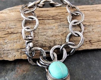 30% OFF CIJ Artisan Jewelry, Handmade, Handmade Silver chain, Turquoise Scarab, Silver Bezel, Carved Turquoise, Rustic Jewelry, Urban Chic,