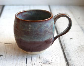 Stoneware Pottery Mug in Earthy Mauve and Blue Glazes Hand Artful Coffee Cup Ready to Ship Made in USA