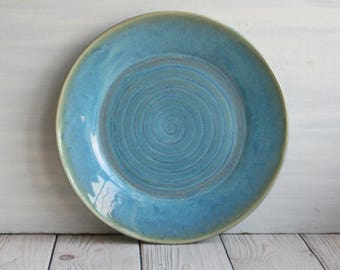 """Stoneware Large 11"""" Rustic Plate with Sea Glass Blue Glaze Handmade Pottery Serving Dish Ready to Ship Made in USA"""