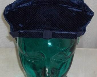 SUMMER SALE Vintage Amy New York Blue Velvet NY Hat Bright Size 21