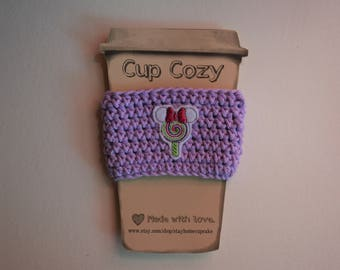 Crocheted Cup Cozy- Purple with Minnie Lollipop