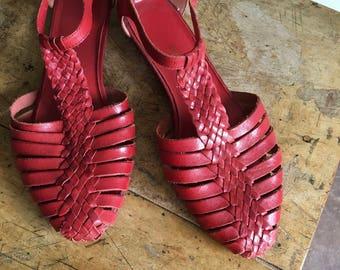 vintage woven leather Summer Solstice t-strap sandals 8.5 shoes