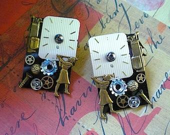 Tee time - mixed media earrings