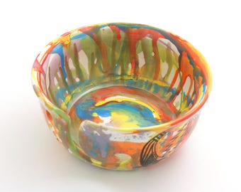 yarn bowl, large ceramic knit bowl, tye dye yarn, grateful, boho, ooak, crochet bowl, yarn keeper, knitting supplies