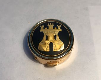 Vintage Damascene Pill Box with Castle Toledo Spain