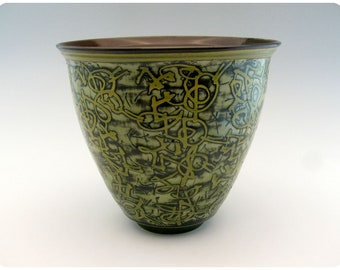 Tall Etched Porcelain Bowl With Calligraphic Design