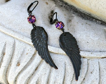 Dark Angel Wing Dangle Earrings, Feather, Antique Brass, Purple