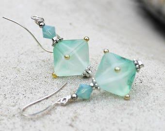 Mint Green Lampwork Drop Earrings -  Aqua, Silver