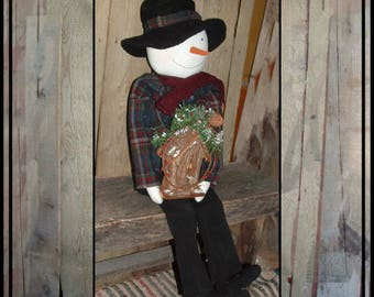 SALE Tall primitive rag doll snowman wooden birdhouse wool coat hand embroidered carrot nose tea stained HAFAIR faap ofg