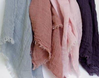 Linen Scarf * Women's Linen Scarf * 100% Linen Summer Scarf * Natural Linen Men's Scarf * Unisex Scarves* Trending Pure Flax Shawl Fringes