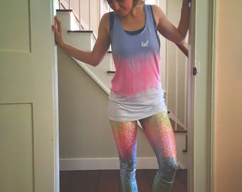 Spirit animal tank, yoga top, yoga tank, muscle tank, slouchy tank, ombre tank, ombre top, rainbow shirt, rainbow top, spirit animal shirt