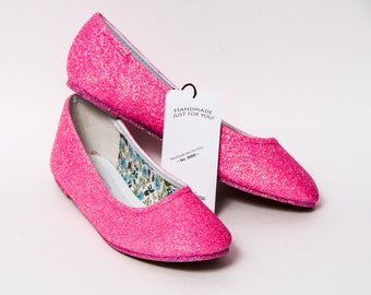 Ready 2 Ship - Size 11 Neon Pink Iris Ballet Flats Slippers Shoes
