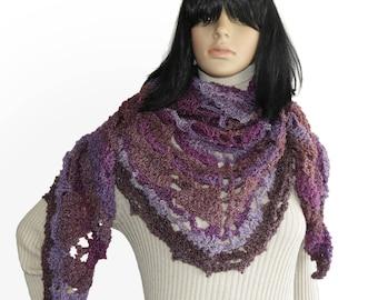 Crochet Shawl Wrap Scarf Triangular Crochet Lace Women's Shawl Wrap in purple mauve lilac tones