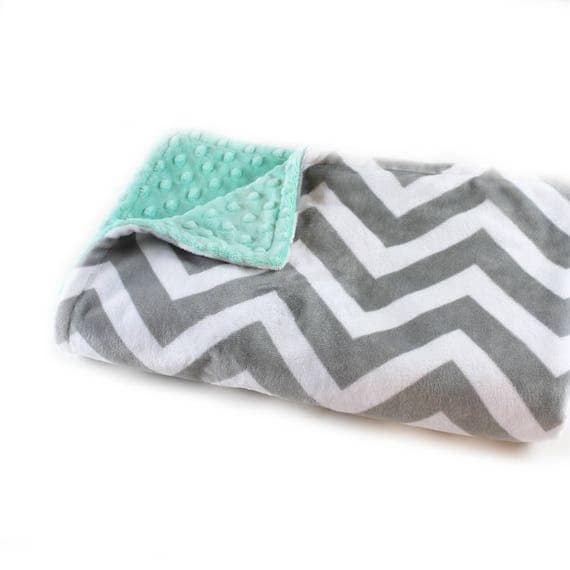 Minky Baby Blanket, 42 x 55 Personalized Baby Blanket, Mint Chevron Baby Blanket, Crib Bedding, Gray Chevron Blanket, Kids Minky Blanket