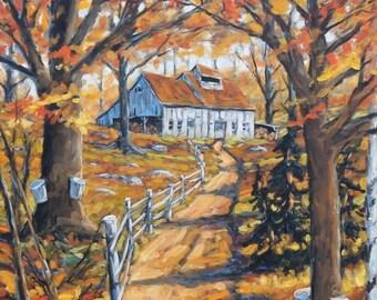 On Sale Maple Sugar Bush  Road  Original Large Oil Painting Scene created by Prankearts