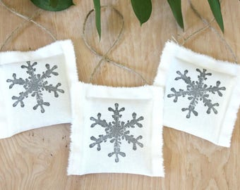 Modern Christmas Ornaments, Snowflake Decorations, Balsam Fir Ornaments, Scented Sachets Winter Fabric Ornaments
