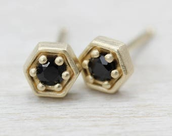 Hexagon Stud Earrings - 0.06ct Recycled Diamond or Black Spinel & Matte 14k Yellow Gold - Recycled Metal and Fair Trade Stones - Geometric