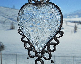 My Icy Heart - Vintage dish given new life as a Windchime