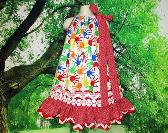 FREE SHIP! Girls Dress 5/6 Back To School Fingerpaint Design  Red White Pillowcase Dress, Pillow Case Dress, Sundress