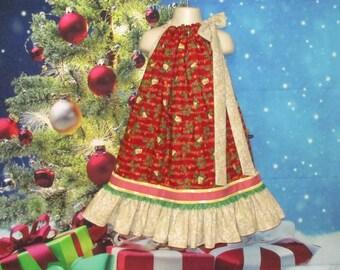 Girls Christmas Dress Size 5/6 Red Cream Holly Bells Flower Music Pillowcase Dress, Pillow Case Dress, Sundress, Boutique Dress
