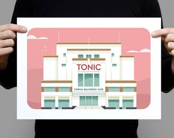 The Tonic – a retro illustration of an art-deco cinema in County Down