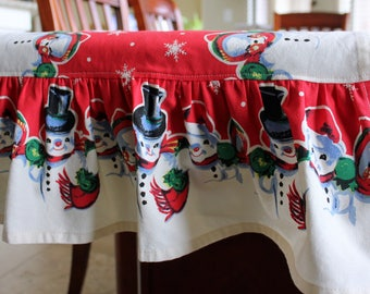 Ruffled Snowman Cotton Table Runner - Different Lengths Available - Christmas Table Runner