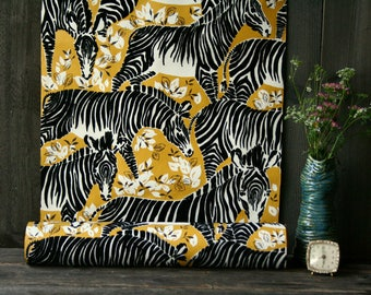 Statement Wallpaper Jungalow Flocked Zebras 60s Black Gold White Nature Jungle Mid Century Modern Vintage From Nowvintage on Etsy