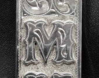 SILVER MONEY Clip with initials MH
