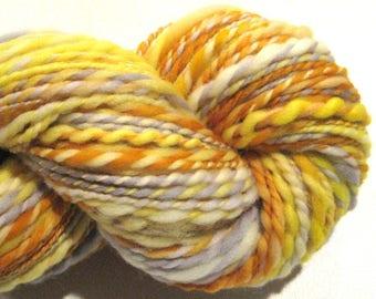 Handspun yarn, Honey Bee,  2 ply, 172 yards, yellow gold gray merino wool yarn,  knitting supplies, rainbow yarn, crochet supplies, weaving
