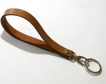 Caramel Leather Wrist Strap Leather Key Fob Key Chain Key Ring Key Holder
