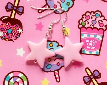 Pastel Pink Earrings Kawaii Star Earrings Fairy Kei Sweet Lolita Pastel Jewelry Retro 80s 90s Jewelry
